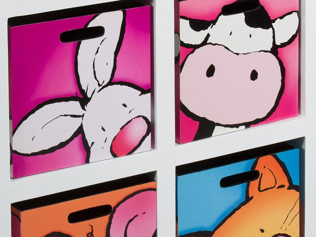 Mueble Baño Infantil:Mueble cajonera infantíl 4 cajones decorados con animalitos