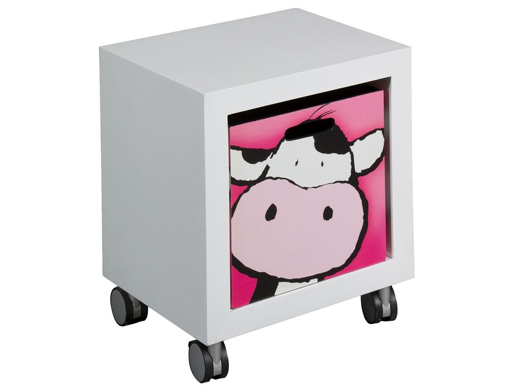 Cajonera infantil con ruedas y caj n cubo dibujo vaca - Cajoneras para juguetes ...