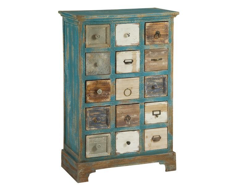 Mueble cajonera vintage mueble multicajones decapado - Mueble recibidor madera ...
