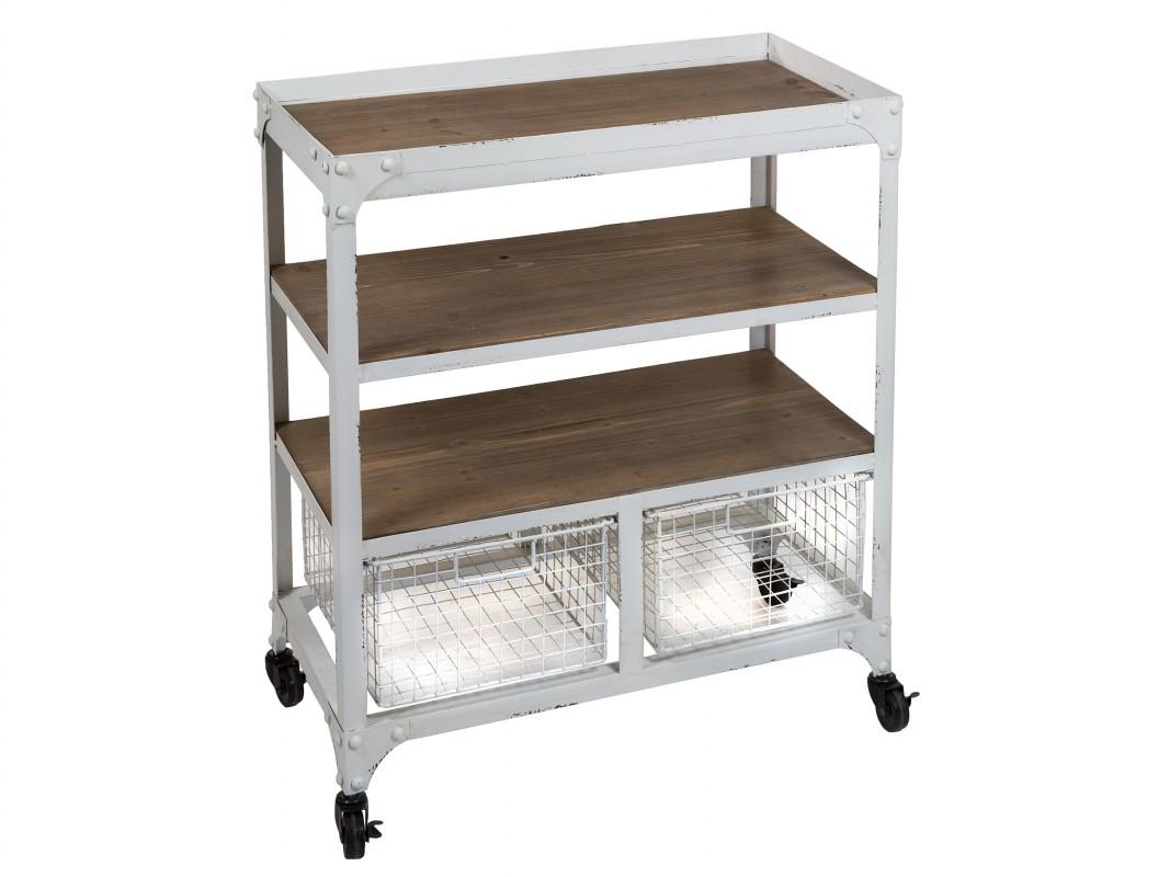 carrito auxiliar de cocina de hierro pintado en blanco y