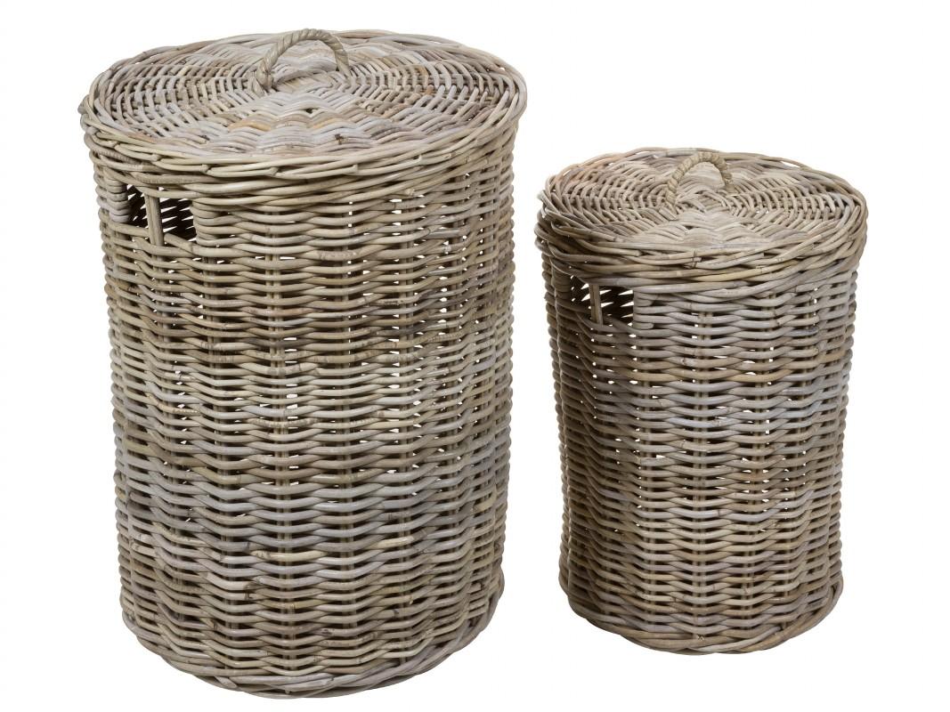 Juego 2 cestos de rattan para ropa sucia cesto para colada - Cestos para ropa sucia ...