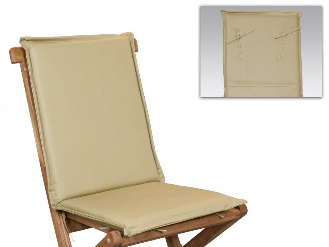 Coj n silla con respaldo hecho de poli ster color crema for Cojin para sillas