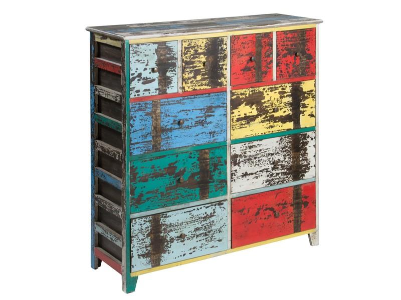 C moda vintage de colores 10 cajones c moda decapada for Colores vintage para muebles