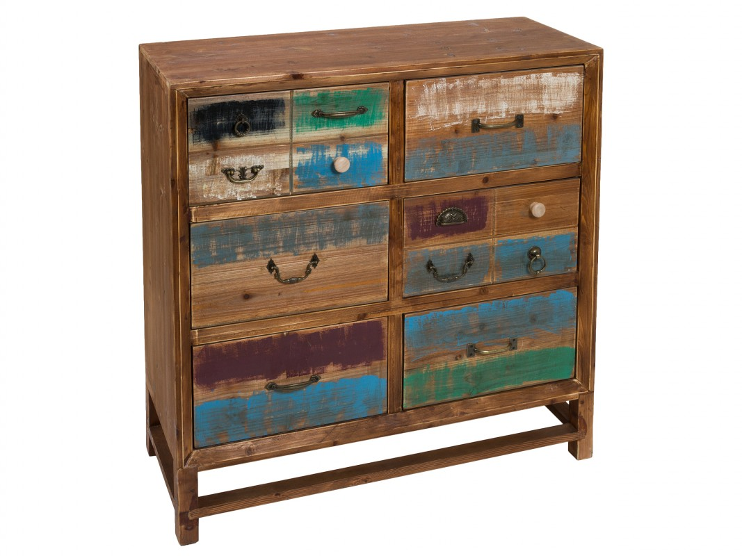 Cajonera decapada de colores en madera de pino y dm estilo for Vintage muebles y objetos