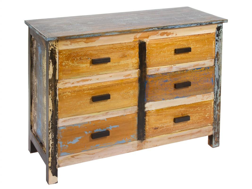 C moda de colores estilo industrial de madera decapada - Comodas diseno ...
