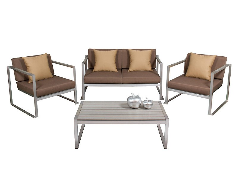 Conjunto jard n 4 plazas mesa sof y sillas aluminio for Conjunto jardin aluminio