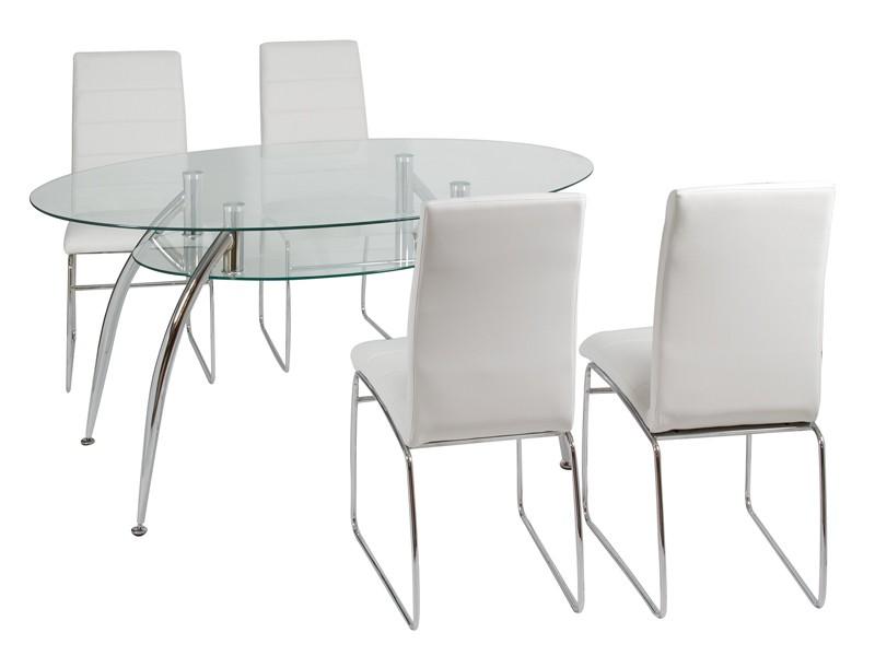Conjunto mesa de vidrio y 4 sillas blancas de comedor