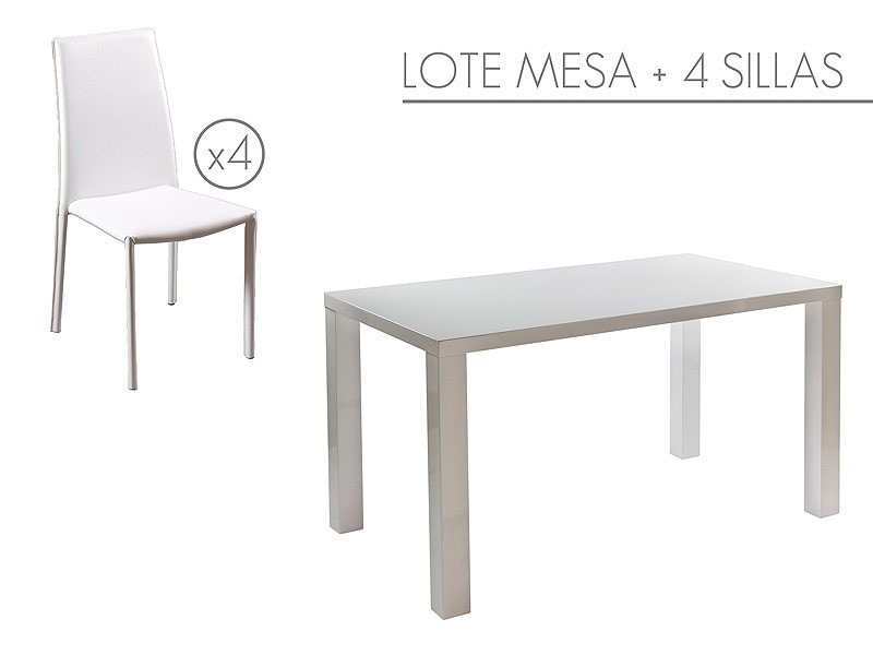 mesa y 4 sillas para comedor color blanco