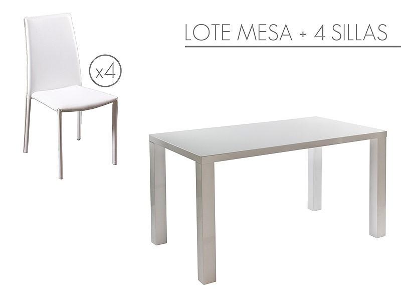 Conjunto mesa y 4 sillas para comedor color blanco - Sillas de colores para comedor ...
