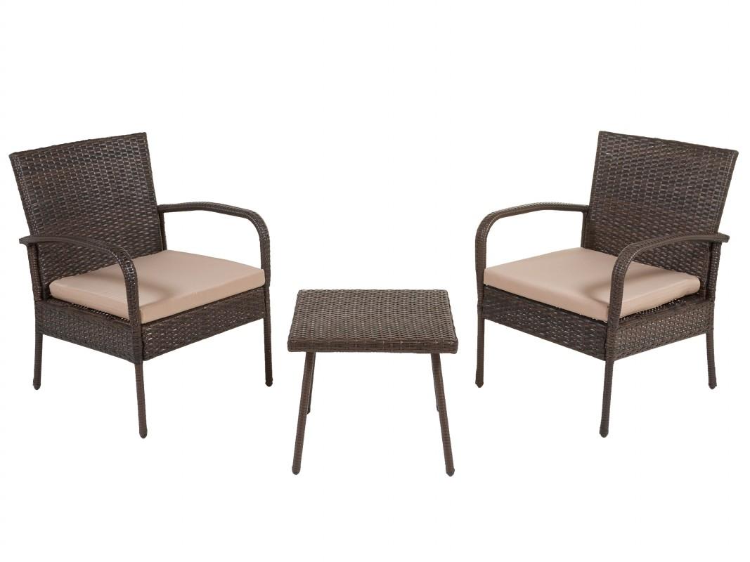 Conjunto mesa y 2 sillas de rat n sint tico para terraza o for Mesas y sillas para terraza