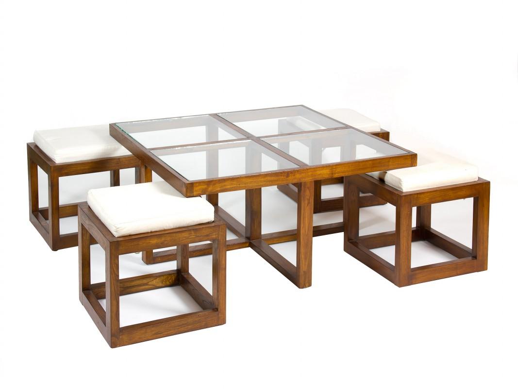 Conjunto mesa baja de madera y cristal con 4 taburetes for Mesa cristal y madera