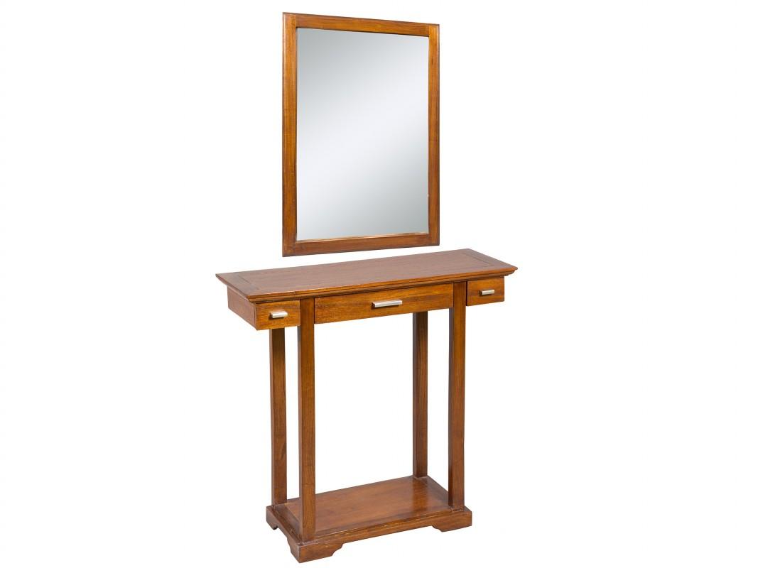 Conjunto recibidor mueble de madera de acacia y espejo for Mueble recibidor madera