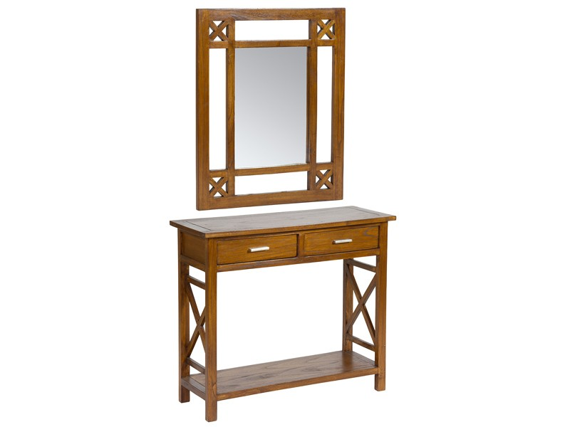 Mueble para recibidor colonial madera con espejo y cajones - Mueble recibidor madera ...