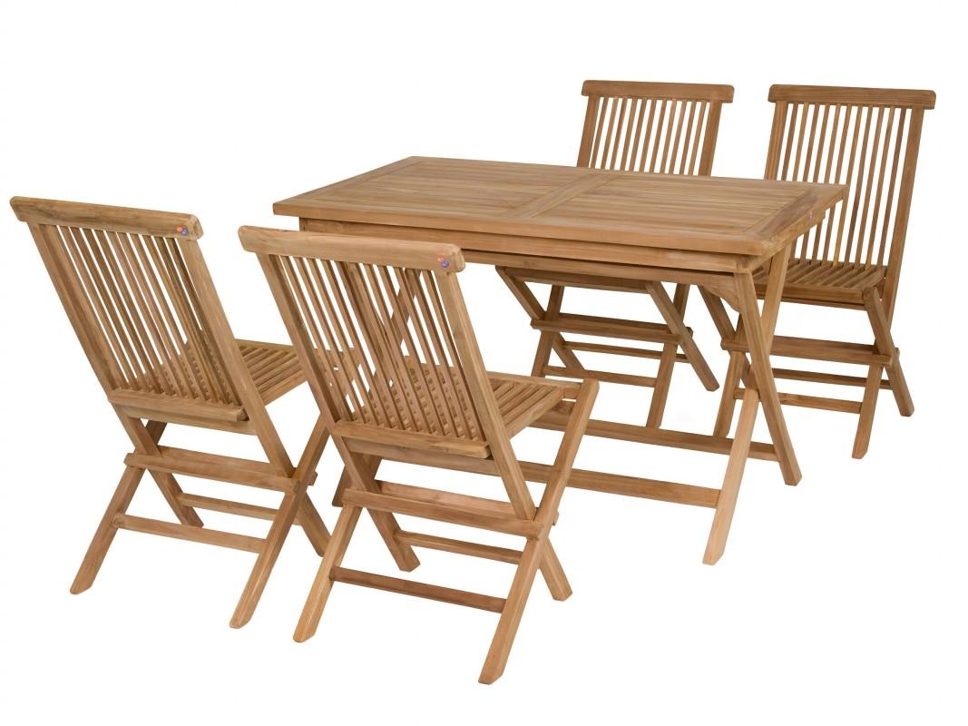 Mesa y sillas de teca plegables muebles de madera de teca for Conjunto jardin madera