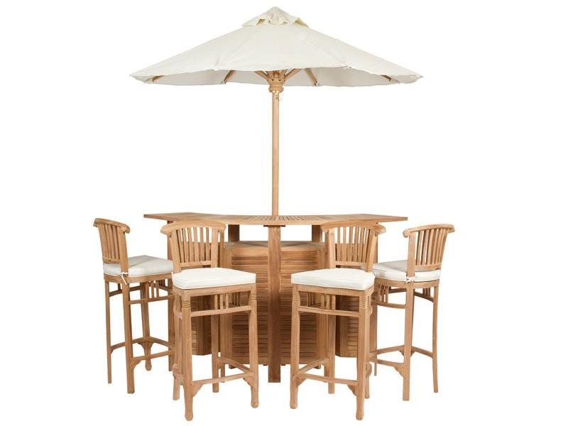 Conjunto terraza bar de madera de teca con sombrilla for Mesa bar de madera