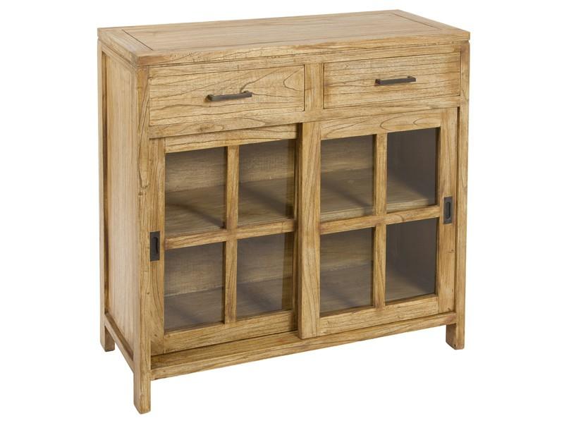 Consola aparador estilo campo de madera y cristal for Bar de madera estilo campo