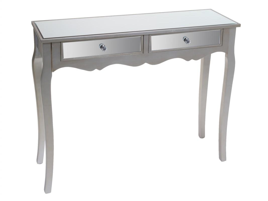 Recibidor de espejo moderno color plata de dm y madera de pino for Espejo gris plata