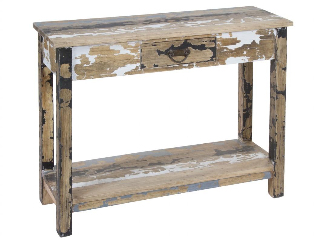 Consola decapada de madera con caj n y balda estilo vintage - Consola para recibidor ...