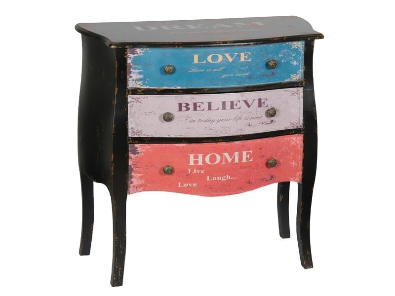 Consola con 3 cajones de colores estilo vintage - Cajoneras estilo vintage ...