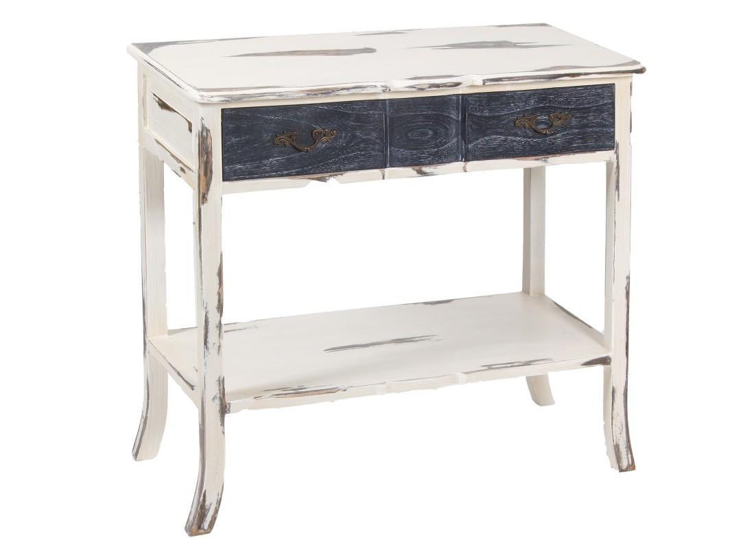 Mueble recibidor vintage de madera decapada con caj n for Mueble recibidor madera