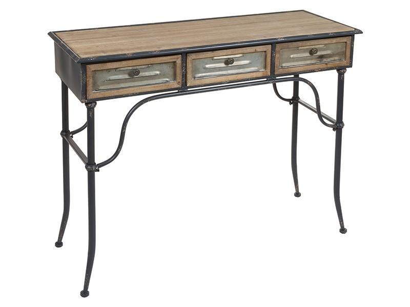 consola entrada hierro y abeto estilo industrial mueble