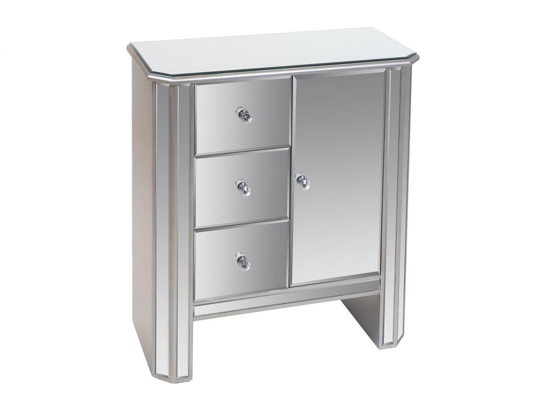 Consola Con Cajones Y Puerta De Espejo Mueble Auxiliar