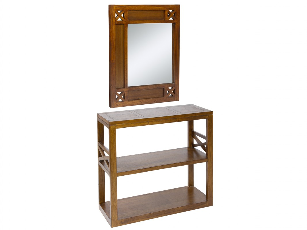 Consola y espejo de madera para recibidor for Espejos de pared madera