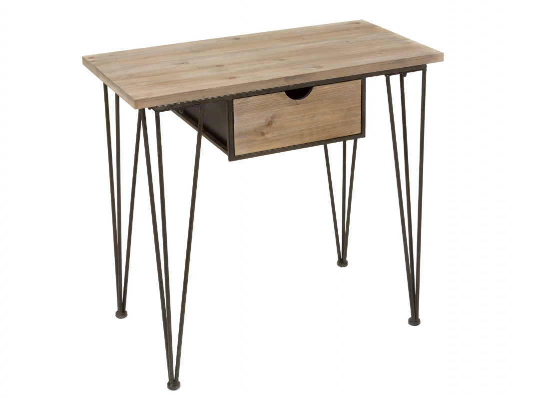 Consola industrial vintage peque a de forja y madera de abeto - Consola industrial ...