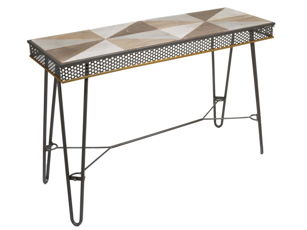 Consola industrial de hierro pintado y madera de abeto - Consola industrial ...