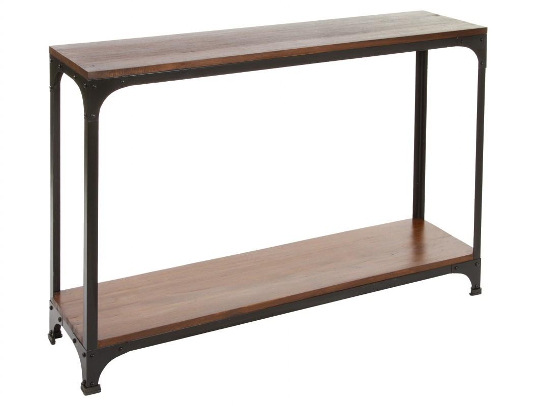 Consola alta y estrecha de hierro y madera de mindi - Consola estrecha ...