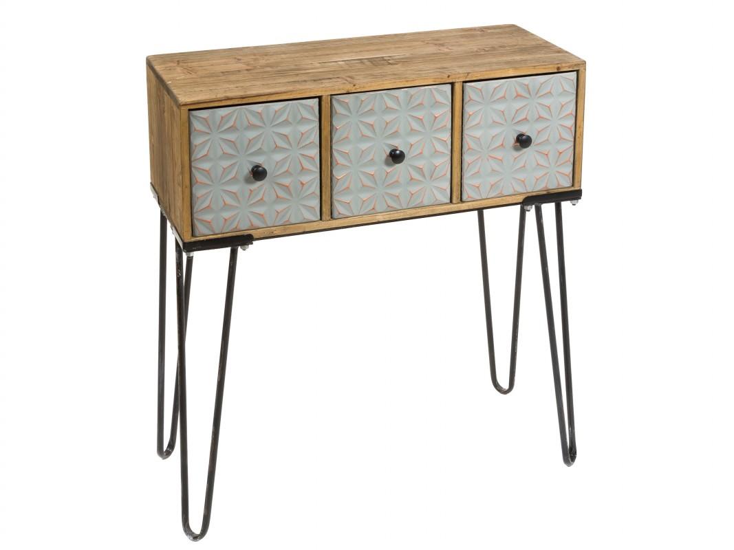 Recibidor industrial peque o de forja y madera de abeto - Muebles para recibidor pequeno ...