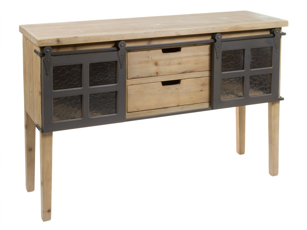 Consola antigua industrial de madera y hierro con puertas - Consola industrial ...