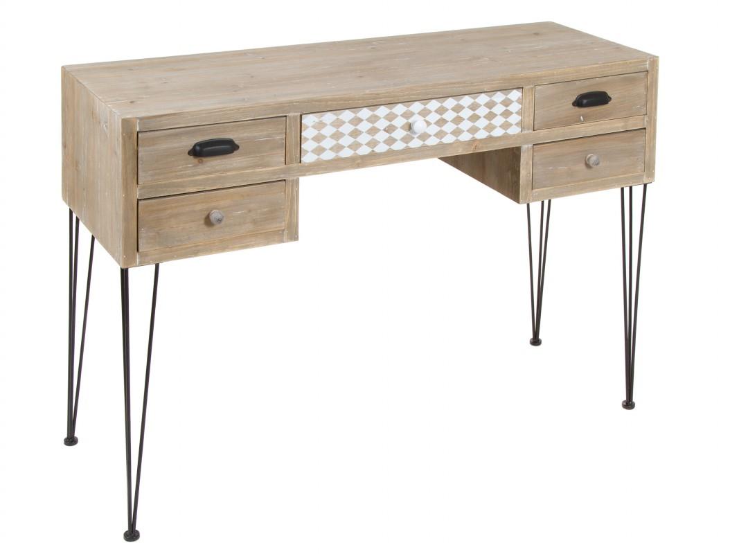 Consola estilo industrial de madera de abeto envejecida for Consola estilo industrial