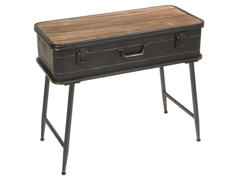Consola industrial con forma de maleta de metal y madera for Consola de tipo industrial