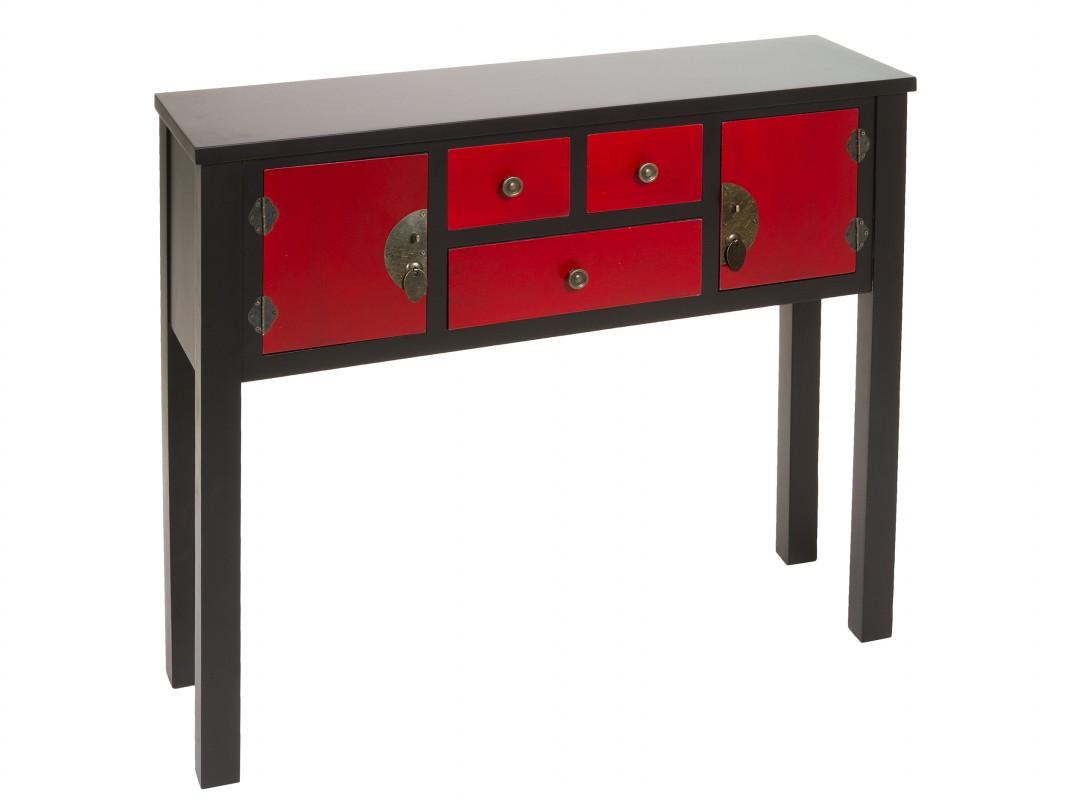 Consola estrecha negra y roja con 3 cajones y 2 puertas - Consola estrecha ...