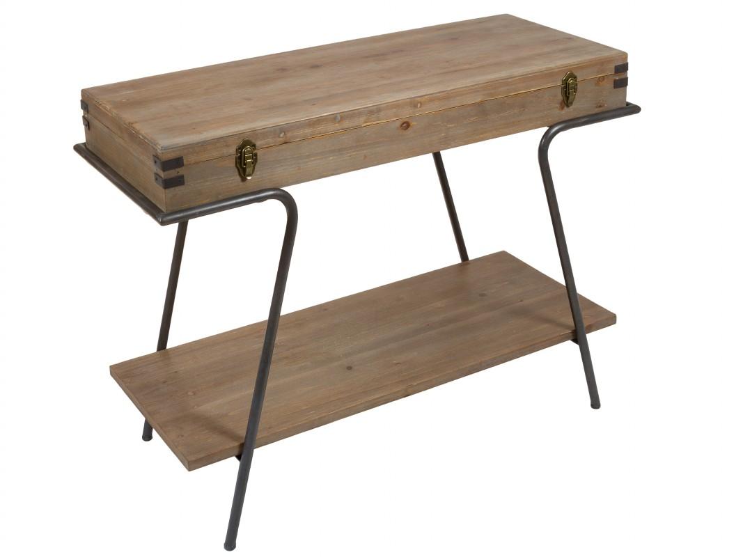 Consola recibidor con almacenaje de madera y hierro for Consola recibidor vintage