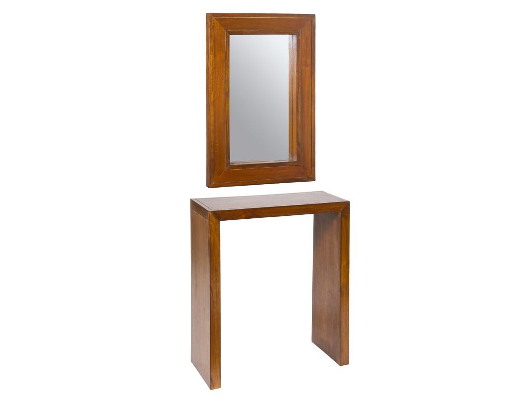 Consola recibidor de madera de acacia con espejo a juego for Mueble recibidor 70 cm