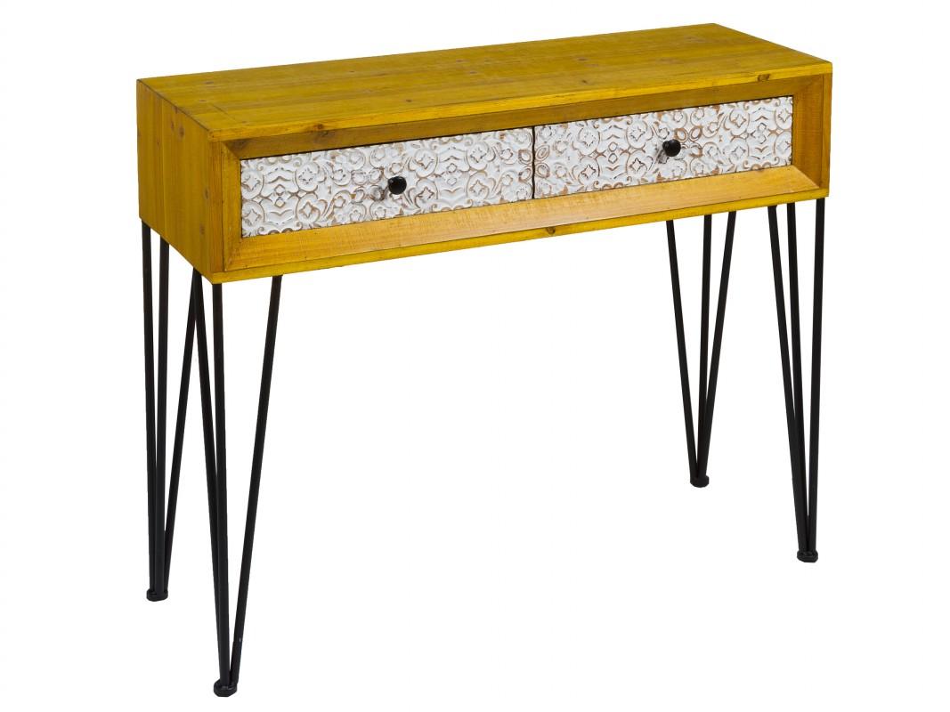 consola shabby chic industrial vintage de madera y hierro On consola de tipo industrial