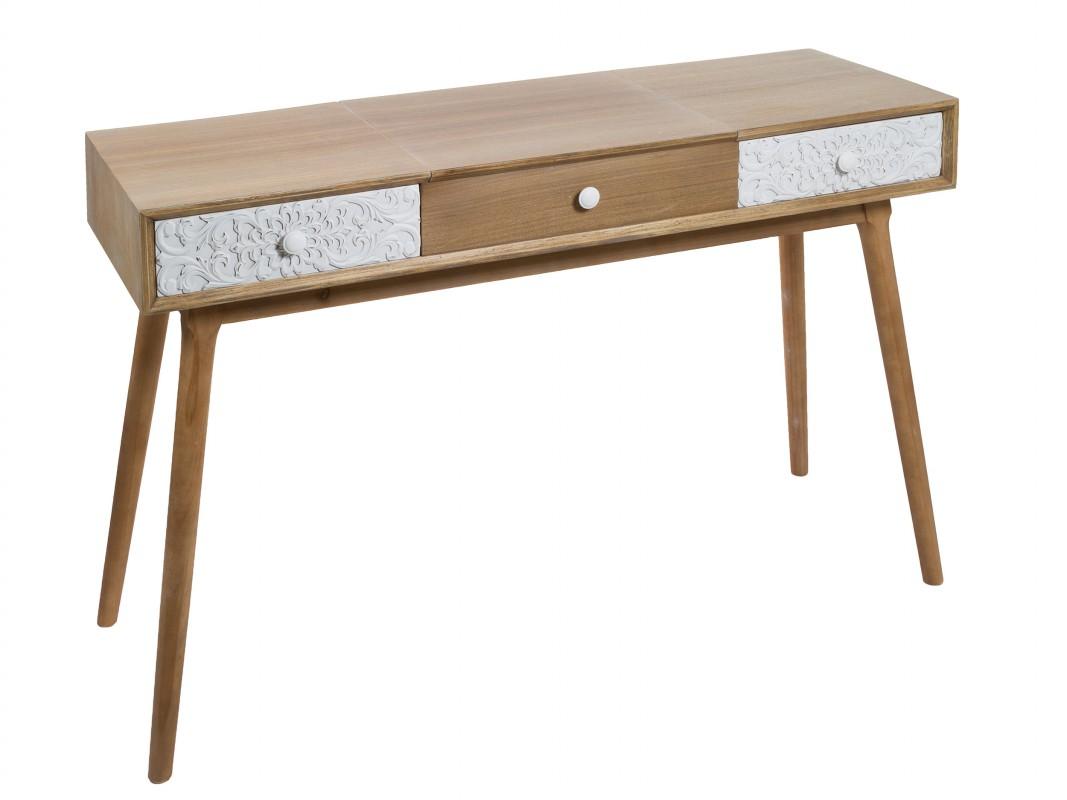 Consola tocador de madera con cajones pintados y espejo for Espejos de madera vintage