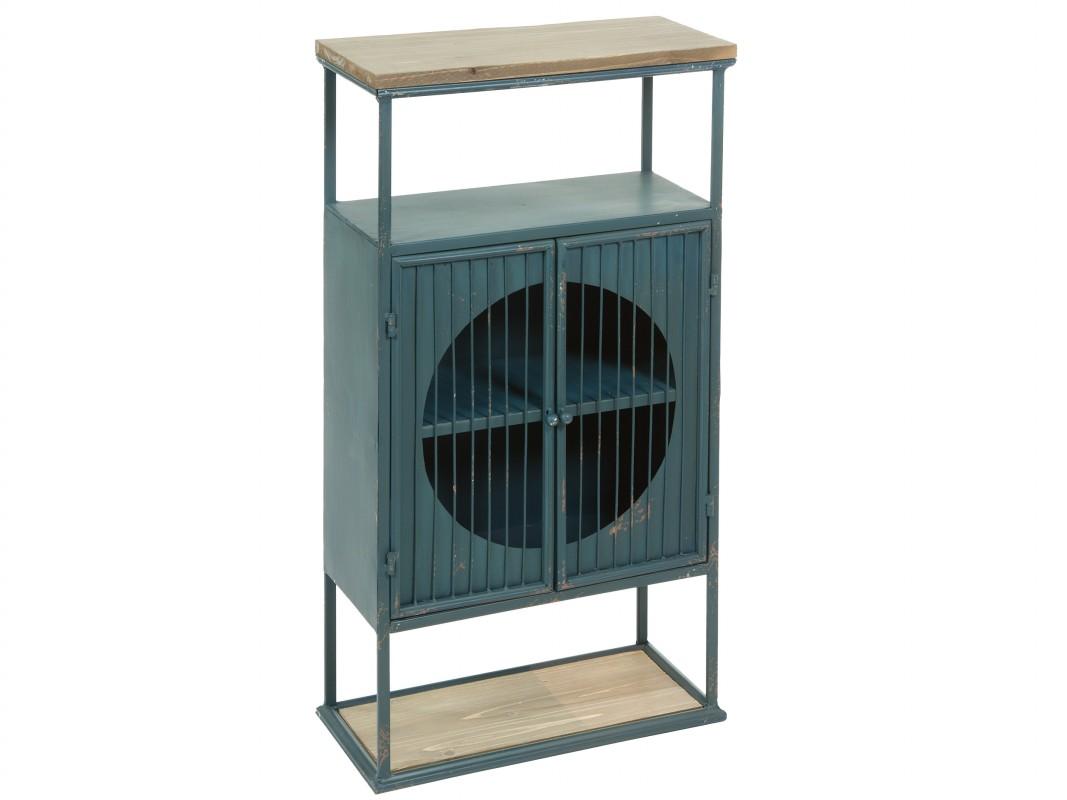 Consola estrecha de hierro y madera estilo industrial for Consola estilo industrial