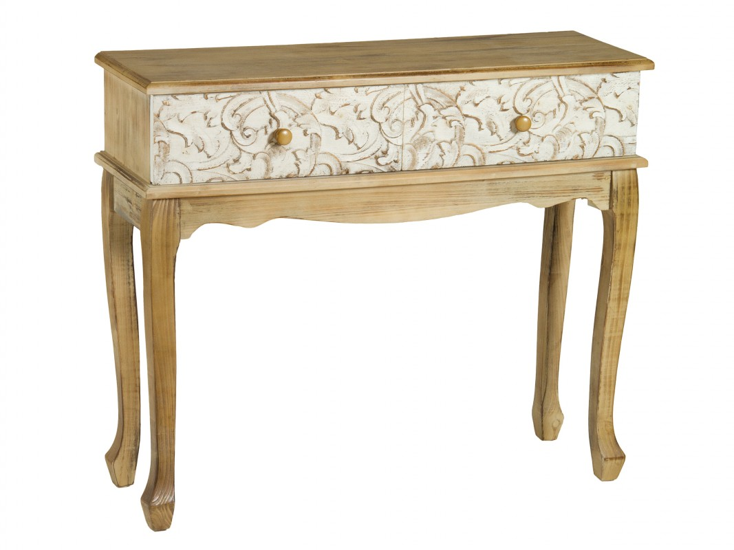 Consola vintage isabelina 2 cajones muebles de entrada for Cajones para muebles