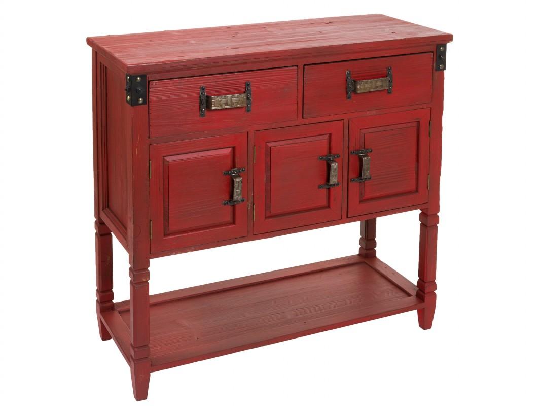 Mueble recibidor rojo estilo vintage de madera con acabado for Estilos de muebles de madera