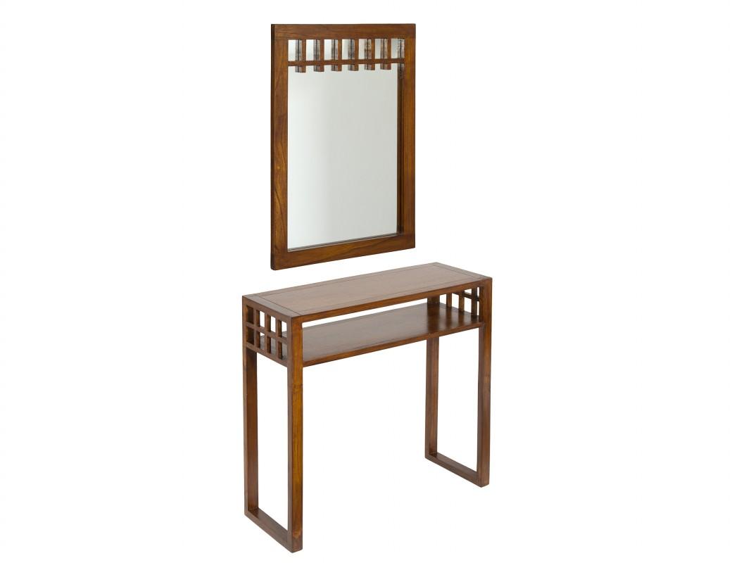Recibidor con espejo de madera de acacia estilo colonial for Espejos para consolas