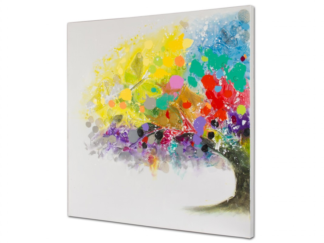 Cuadros de lienzo elegant cuadro de rbol clsico verde de lienzo para saln de x cm bretaa with - Cuadros de colores ...