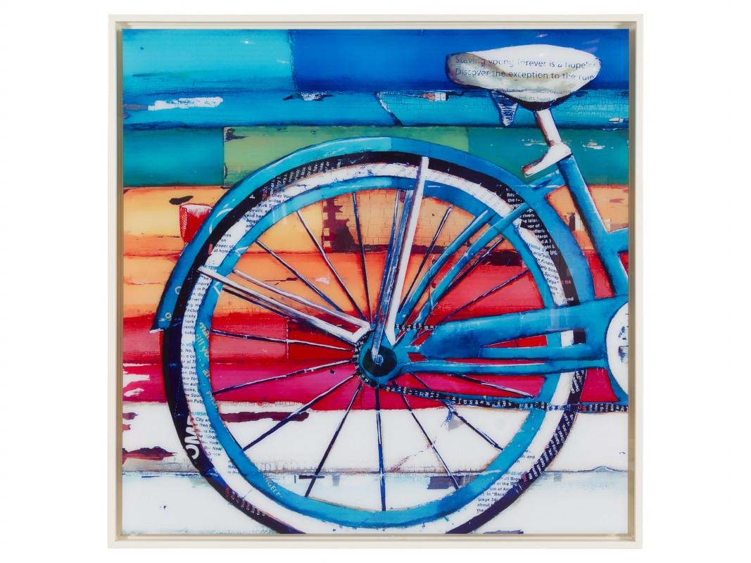 Cuadro bicicleta vintage de colores con marco blanco
