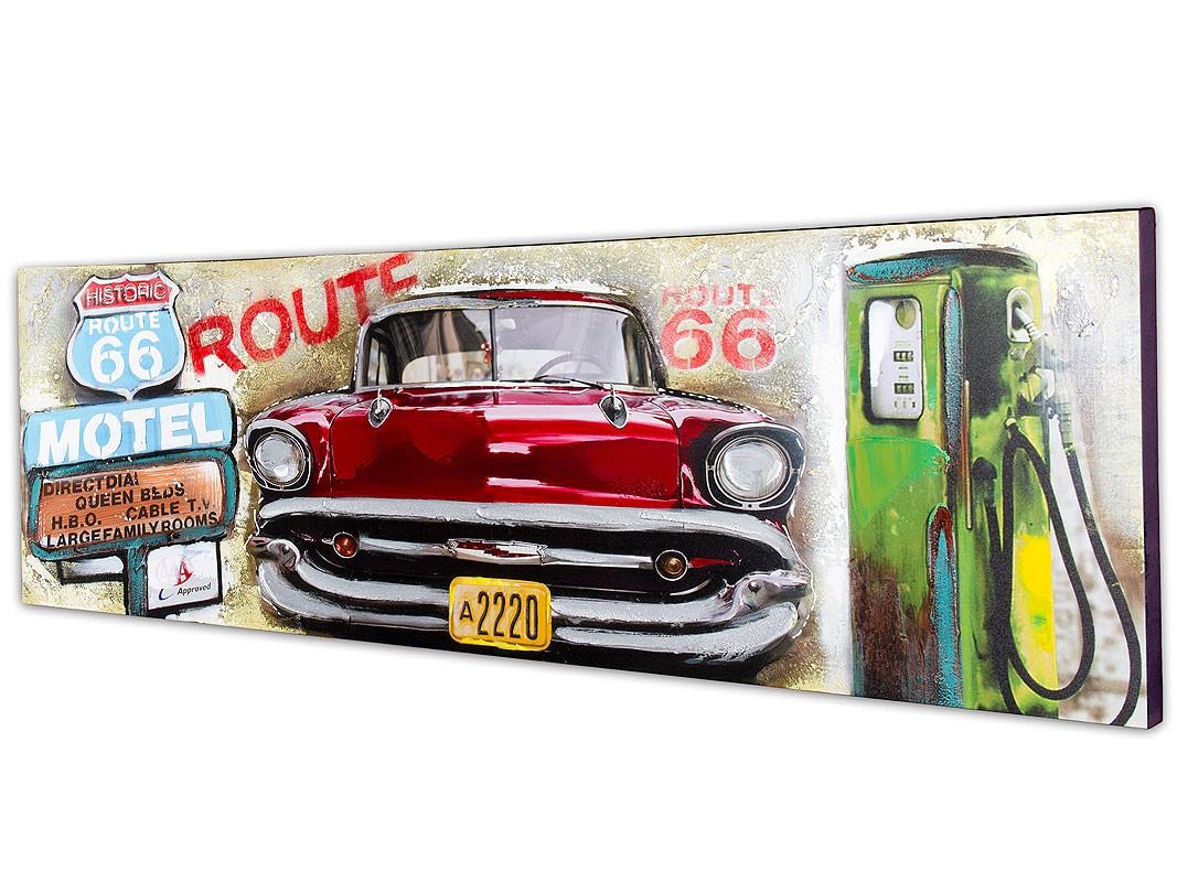 Cuadro Vintage Coche Motel Y Gasolinera Ruta 66