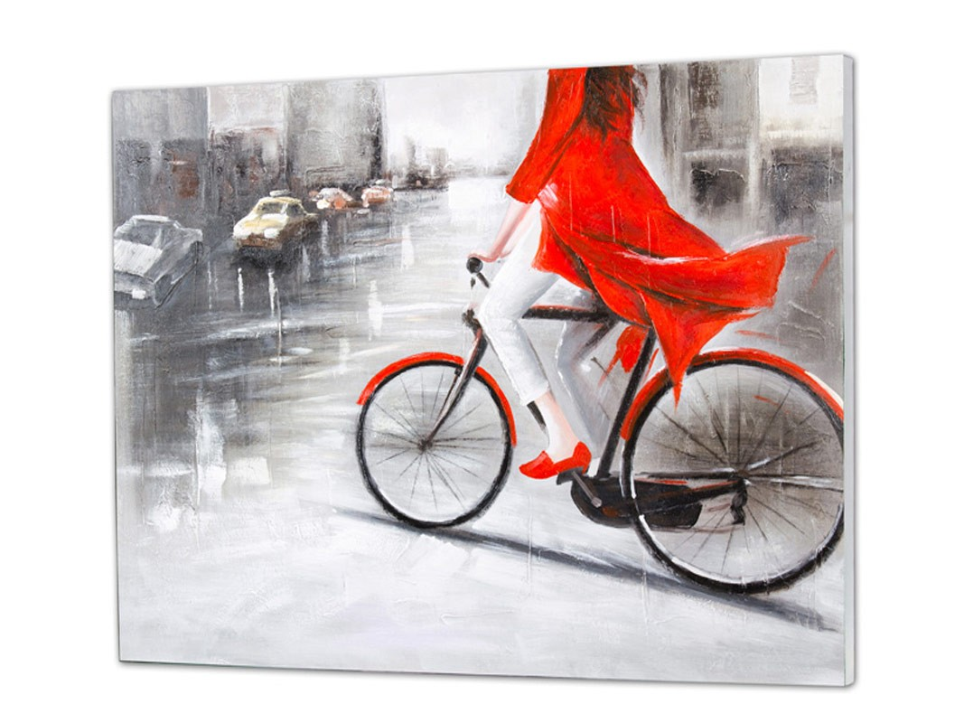 Cuadro al oléo mujer de rojo en bicicleta