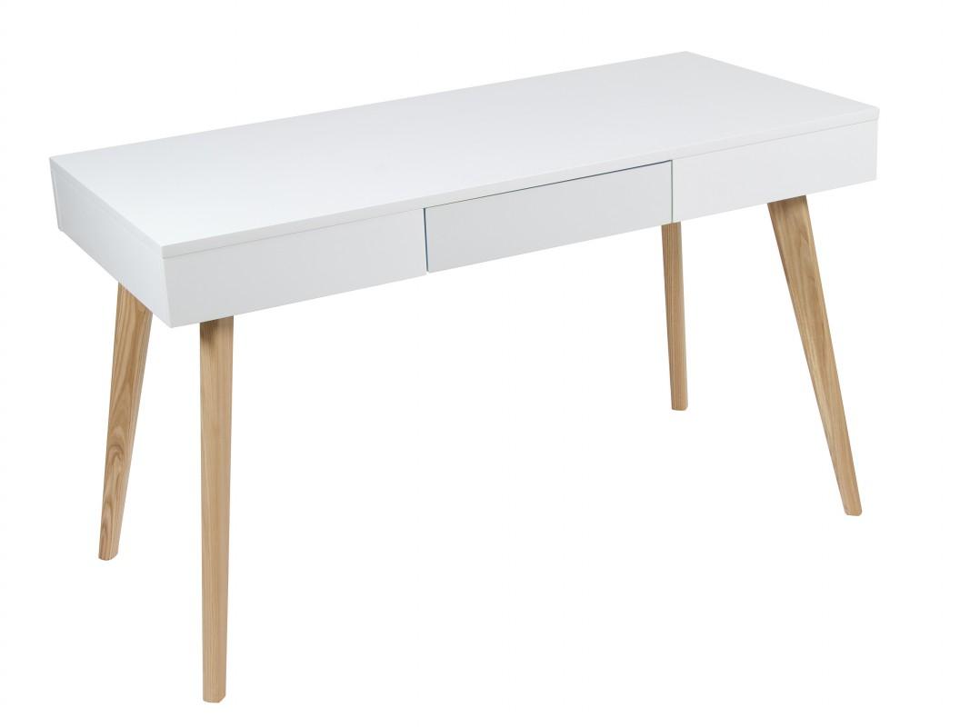 Mesa de estudio escandinava en blanco y madera con caj n - Mesas de estudio de diseno ...