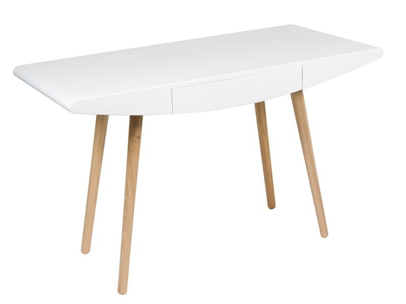 Escritorio escandinavo en blanco y madera con caj n - Decorar en blanco y madera ...