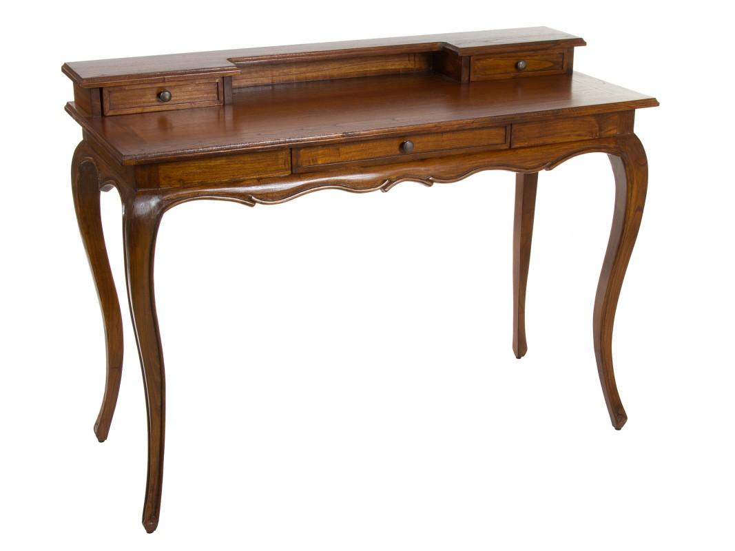 Escritorio isabelino colonial madera de acacia color nogal - Mesa escritorio colonial ...